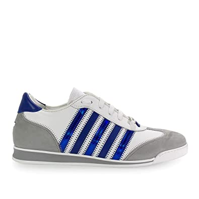 DSQUARED2 Herren Schuhe Sneaker New Runner Weiss Blau