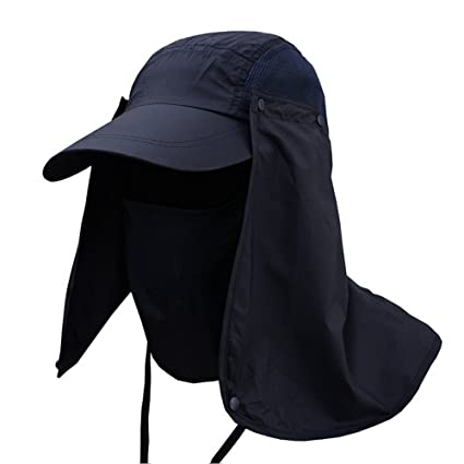 d026fcbc449c6 Outdoor Fishing Hat with Removable Neck   Mask Cover 360 ° UV Sunscreen Sun  Hat Men