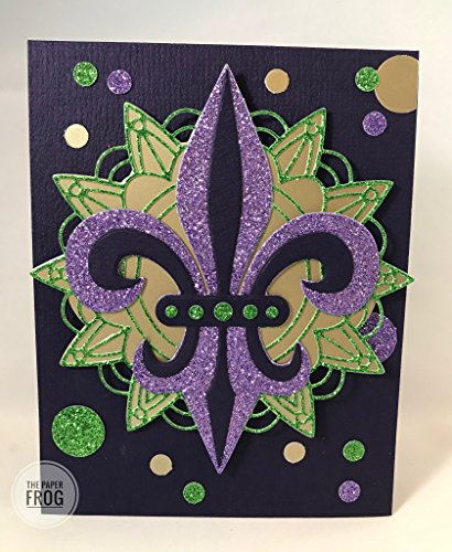 Birthday Mardi Gras Invitations (Glittering Fleur de Lis Mardi Gras New Orleans Carnival Card)