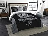 Oakland Raiders Draft - 3 Piece King Size Bedding Comforter Set - Includes: Comforter & Shams - NFL Home Decor Logo Bedding Accessories