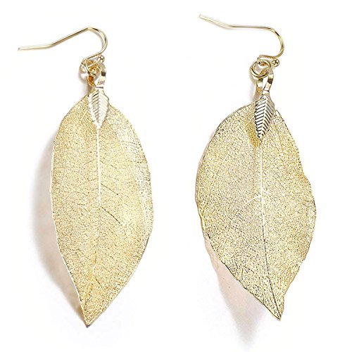14k Gold Leaf Earrings - BOUTIQUELOVIN Gold Drop Dangle Leaf Earrings for Fall Winter Delicate Lightweight Holiday Jewelry Gift for Her