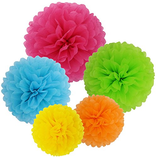 SOOKOO 15 Pcs 14 Inch, 12 Inch, 10 Inch Assorted Rainbow Colors Tissue Paper Pom Poms Flower Balls For Birthday Wedding Party Baby Shower Decorations (Paper Flower Pom)