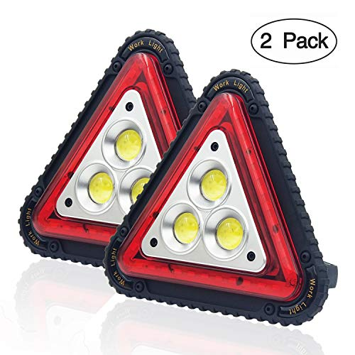 (OTYTY 3 COB 30W 1500LM LED Work Light, Rechargeable Portable Waterproof LED Flood Lights Triangle Warning Light for Outdoor Camping Hiking Emergency Car Repairing Job Site Lighting (2 Pack))