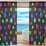 SEULIFE Window Sheer Curtain Colorful Dog Paw Print Voile Curtain Drapes for Door Kitchen Living Room Bedroom 55x78 inches 2 Panels
