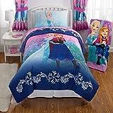 OSD 4pc Girls Disney Frozen Theme Comforter Twin Set, Pretty Faces Sister Anna, Elegance Bohemian Flowers Pattern Background, Elsa Sisterhood Bedding, Pink, Vibrant Colors Navy Blue, Animated Movie