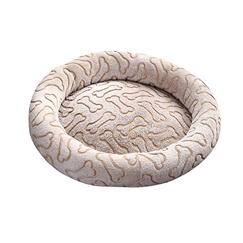 (laamei Dog Bed Round, Bone Print Dog Cave Bed Cat Bed Soft Washable Warm Basket Dog Bed Cushion Sofa Bed for Dogs and Cats Medium Light Tan)