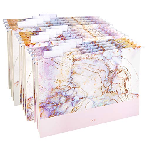 Hanging File Folders Letter Size Assorted Durable Refined Design, 1/5-Cut Adjustable Tabs,12pcs with Gift Box,Marbling