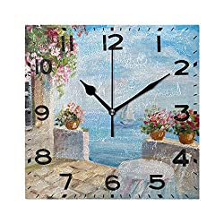 Naanle Beautiful Summer Seaside House with Flowers Painting Print Square Wall Clock Decorative, 8 Inch Battery Operated Quartz Analog Quiet Desk Clock for Home,Office,School