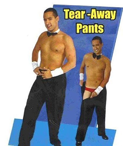 OvedcRay Adult Men Tear Away Rip Off Male Stripper Black Costume Pants Entertainer ()