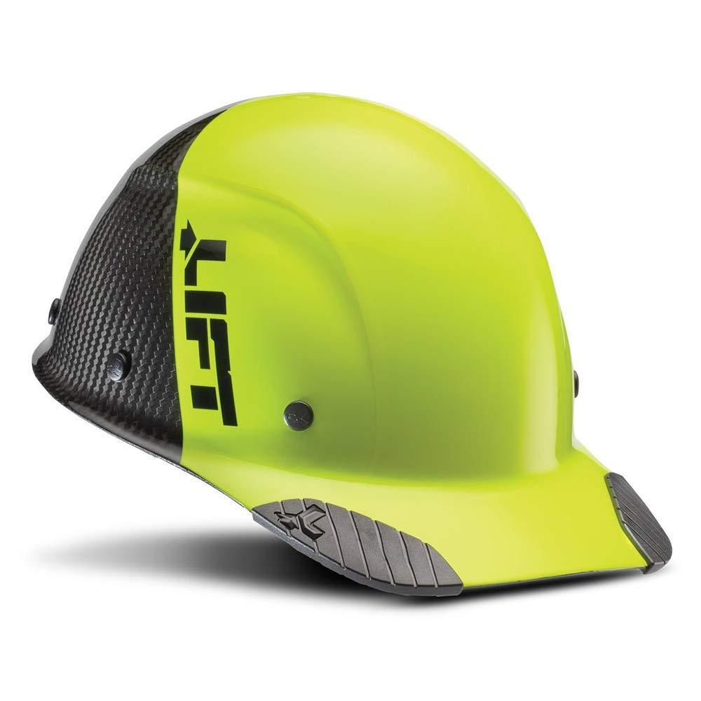 LIFT Safety DAX Fifty 50 Carbon Fiber Cap Style Hardhat ANSI Compliant 6 Point Upgraded Suspension Triple Reinforced Crown, Class C (Hi Viz Yellow - Carbon Fiber)