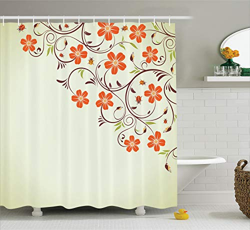 Ambesonne Ladybugs Shower Curtain, Flower Frame with Tiny Little Ladybugs and Swirl Branches Springtime Theme, Cloth Fabric Bathroom Decor Set with Hooks, 70