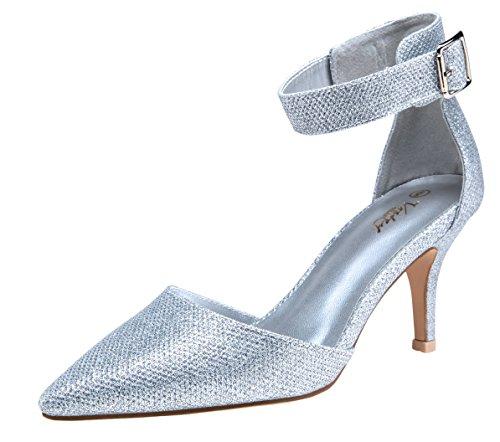 VOSTEY Women Heels Pointed Toe Low Heel Dress Shoes Ankle Strap Pumps (10,Silver - Pumps Silver Dress