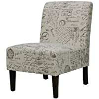 Cortesi Home Chicco Armless Accent Chair, Script