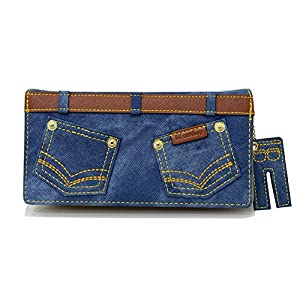 Woolala Jeans Wallet Large Capacity Zip Arrounded Long Purse Jeans Pendant