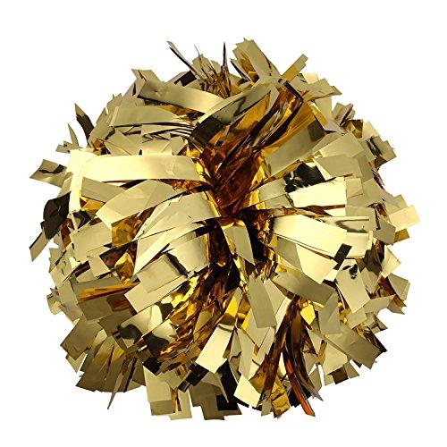 ICObuty Metallic Cheerleader Cheerleading Pom Poms 6 inch 1 Pair (Gold) ()