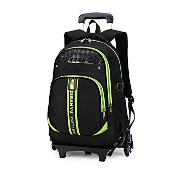 HCC/& Trolley Backpack/& Trolley Carry On Luggage with Removable Pull Rod Climbing Stairs Wheeled Backpack 8-14 Years Old for Kids
