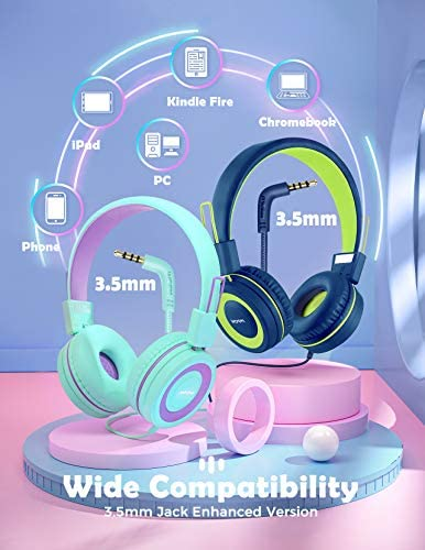 Mpow CH8 Kids Headphones With Microphone 2 Pack, Wired On Ear Headphones For Kids With 91dB Volume Limit, Online Schooling Headsets With Sharing Splitter For Boys Girls Children School Travel