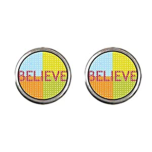 Chicforest Silver Plated Multicolored Believe Photo Stud Earrings 10mm Diameter