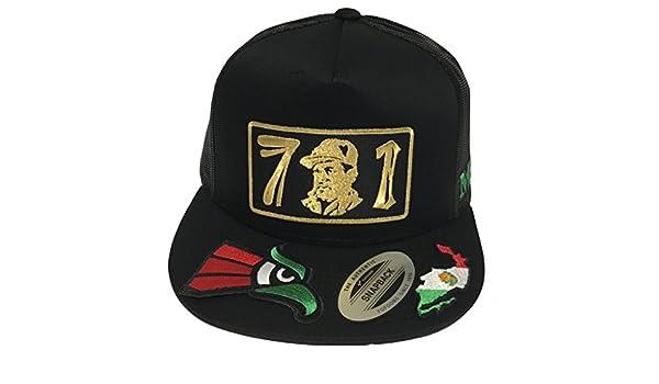 EL Chapo 701MAPA Y Aguila EN LA VISERA 3 Colores Hat Black 4 Logos Mesh at Amazon Mens Clothing store: