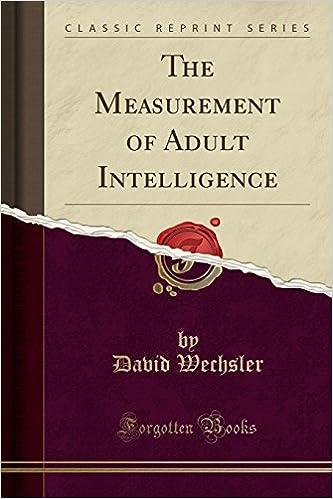 of intelligence Measurement adult
