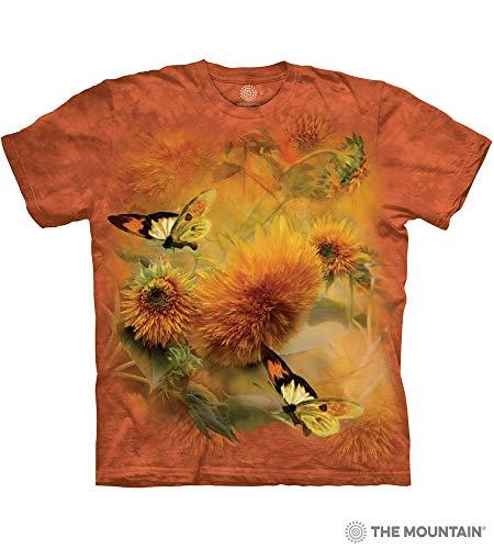 - The Mountain Sunflower & Butterflies Adult T-Shirt, Orange, Small