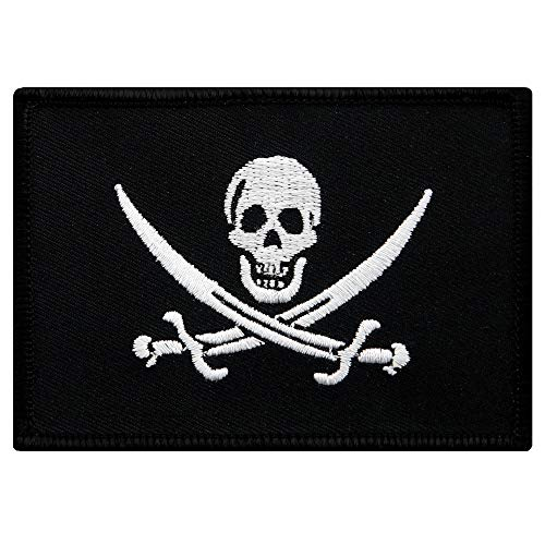 Jolly Roger Calico Jack Flag Embroidered Patch Black White Pirate Skull - Patch Calico
