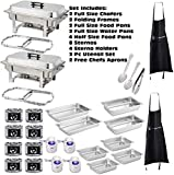 ChefMaid Chafing Dish Buffet Set. Includes 2 Full Size Chafers,2 Full Size Water Pan, 2 Full Size Food Pan, 4 Half Size Food Pans,4 Fuel Holders, 8 Fuel Cans, Serving Utensils+BONUS 2 FREE CHEFS APRON