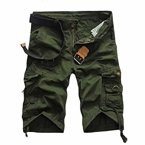 Mo Good Men's Casual Fashion Loose Cargo Boutique Shorts (38, army) (Belted Tweed Belt)