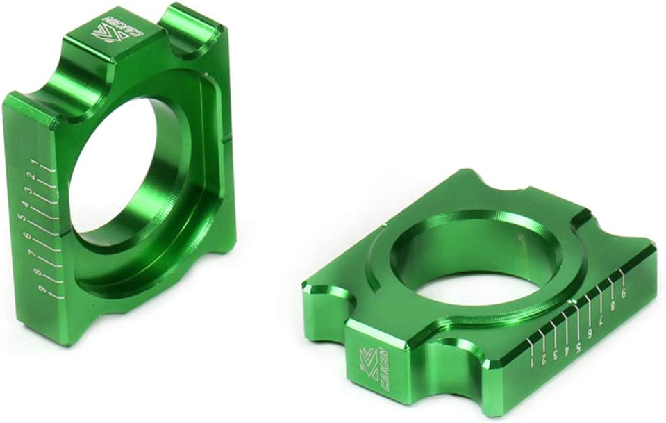 Green CNC Billet Axle Block Chain Adjuster For KX125 250 KX250 450F KLX450R Dirt Bike MX Motocross Off Road Motorcycle