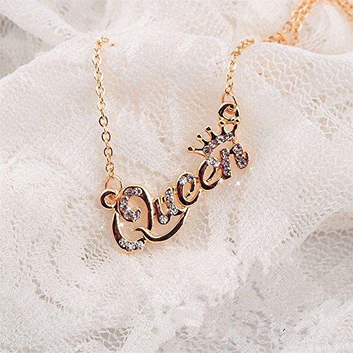 wanmanee Shiny Rhinestone women girl Letter Elegant Queen Pendant Clavicle Chain Necklace