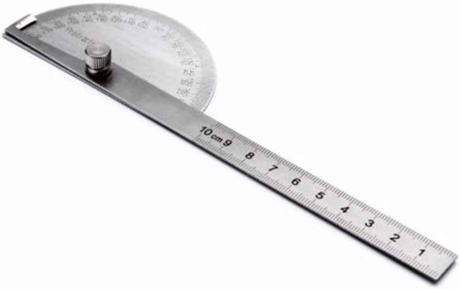 Flushzing 1PCS Stainless Steel 180 Degree Protractor Angle Finder Arm Measuring 100mm Ruler Tool