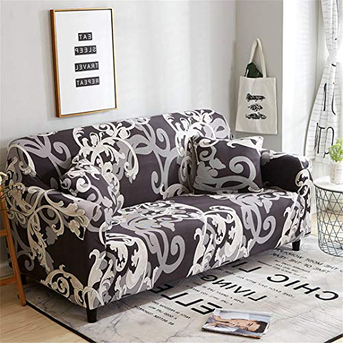 (Ranferuyk 24Colors Slipcover Stretch Four Season Sofa Covers Furniture Protector Polyester Loveseat Couch Cover Sofa Towel 1/2/3/4-Seater Color 6 4 Seater)