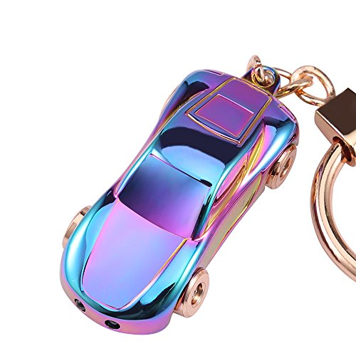 , Jobon Zinc Alloy Car Keychain with 2 Modes LED Light, Key Rings for Men, Women or Car Decorations, Ideal Gifts (Colorful) ()