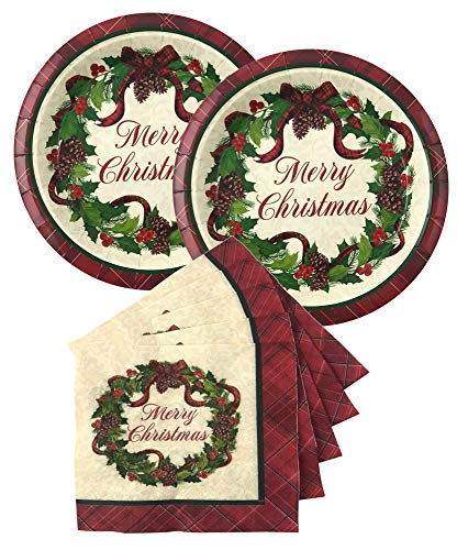 Christmas Disposable Dinnerware Paper Plates and Napkins Set for Your Holiday Party – Merry Christmas Wreath – (Serves…