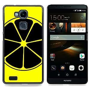 Jordan Colourful Shop - Lemon Art Yellow Black Nuclear Symbol Fruit For HUAWEI Ascend Mate 7 - < Personalizado negro cubierta de la caja de pl??stico > -