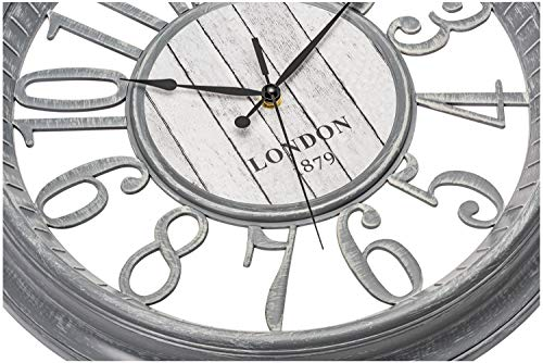 Bernhard Products Large Wall Clock 16 Inch Gray Noiseless Battery Operated Quality Quartz Rustic Farmhouse Shabby Chic… 4