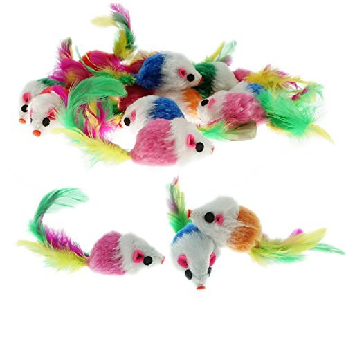 Keklle Furry Mice Toys of Feather Tails, Mouse Toys for Cats, Funny Small Pet Toys, 20 Counting ()