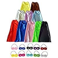 LEILE Children Superhero Dress Up Party Capes with Soft Masks Pack of 20 pcs (10 Sets 10 Colors)