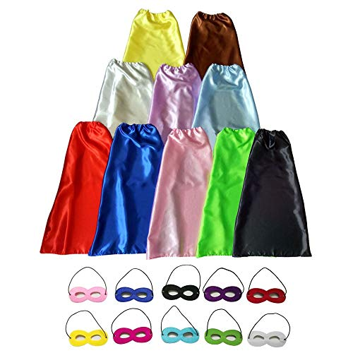LEILE Children Superhero Dress Up Party Capes with Soft Masks Pack of 20 pcs (10 Sets 10 Colors)