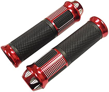Red Motorcycle 7//8 Hand Grips Handlebar Aluminum Rubber for Sport Bike Bicycle