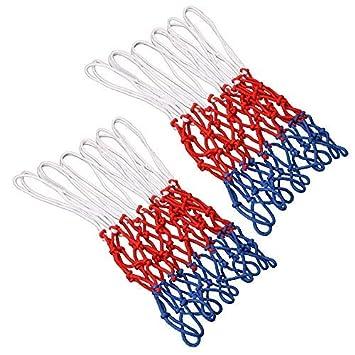 GTIWUNG Set de 2 Red de Canasta, Red Tricolor Blanco/Azul/Rojo, Red de Baloncesto de 12 Bucle, Malla Estándard para Canasta de Baloncesto, Robusto ...
