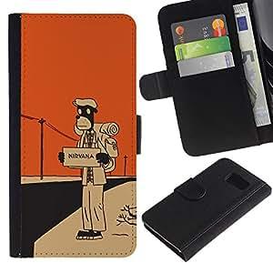 NEECELL GIFT forCITY // Billetera de cuero Caso Cubierta de protección Carcasa / Leather Wallet Case for Samsung Galaxy S6 // Nirvana Hitchhike