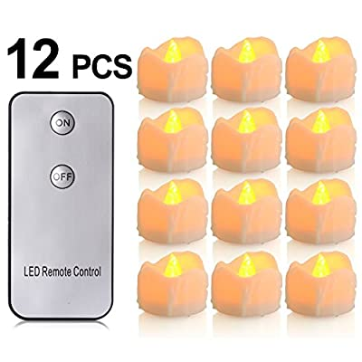 Battery Candles with Remote, 12 Packs PChero Battery Operated Candle LED Unscented Flickering Flameless Tea Lights, Last up to 48 hours, Perfect for Birthday Wedding Party Home Decor - [Yellow]