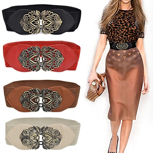 Women S Fashion Vintage Wide Elastic Stretch Waist Belt Waistband