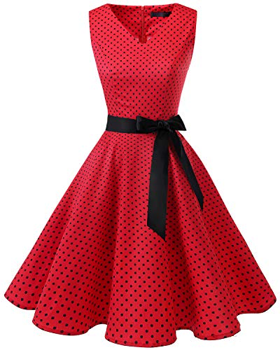 Bridesmay Women's V-Neck Audrey Hepburn 50s Vintage Elegant Floral Rockabilly Swing Cocktail Party Dress Red Small Black Dot 4XL ()