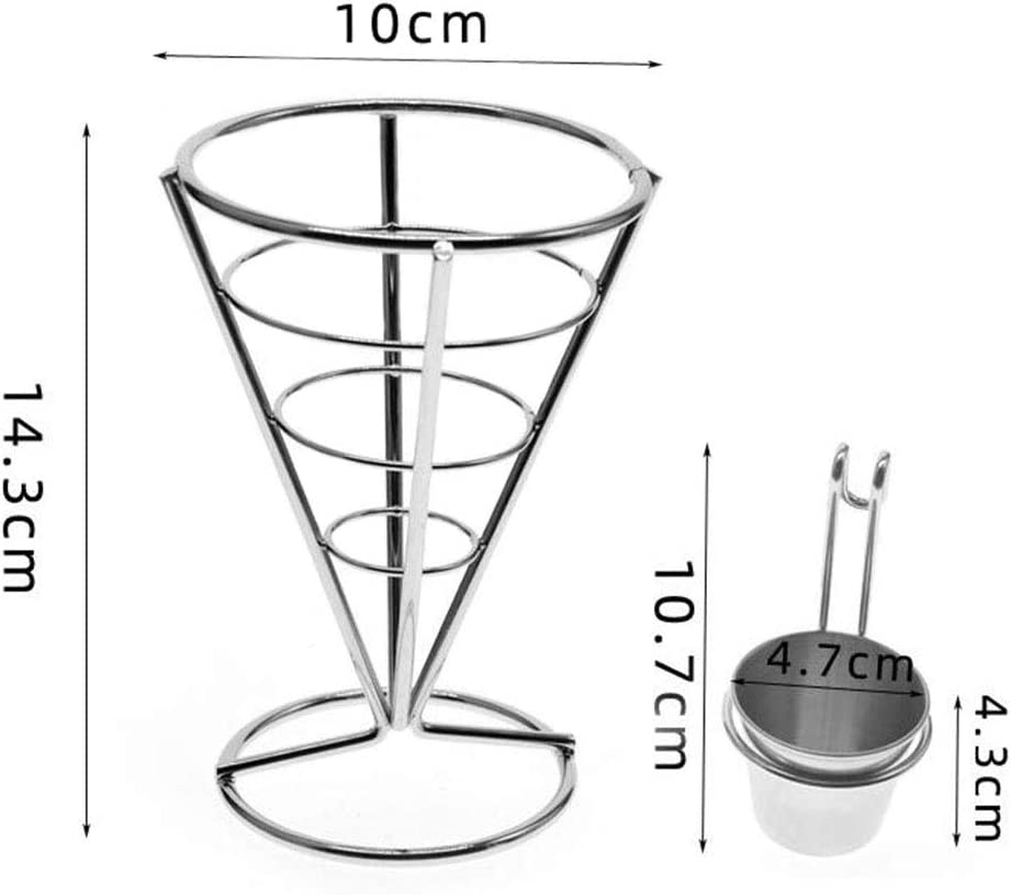MIAO JIN 2Pcs French Fries Stand Cone Basket Fry Holder with Sauce Dippers Metal Cone Snack Fried Chicken Display Rack Wire Stands for Kitchen Restaurant Party Supplies