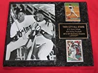 Twins Kirby Puckett Kent Hrbek 2 Card Collector Plaque w/ 8x10 Vintage Photo