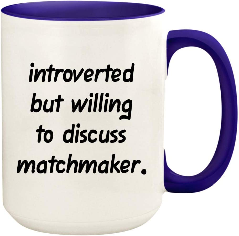 Introverted But Willing To Discuss Matchmaker - 15oz Ceramic White Coffee Mug Cup, Deep Purple