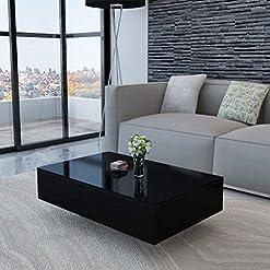 Living Room Unfade Memory Modern Elegant MDF High Gloss Coffee Table Side Tables, Black 33.5″x21.7″x12.2″(LxWxH) modern coffee tables