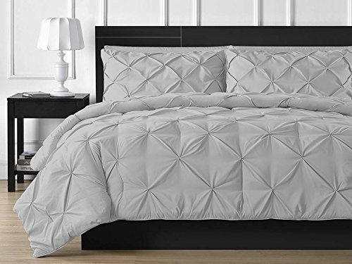 Sona Bedding Solutions Ultra Soft 2-Piece Pinch Pillow Shams with Beautiful Pinch Diamond Design Egyptian Cotton Pillow Covers 800TC Solid (King, Silver Grey)